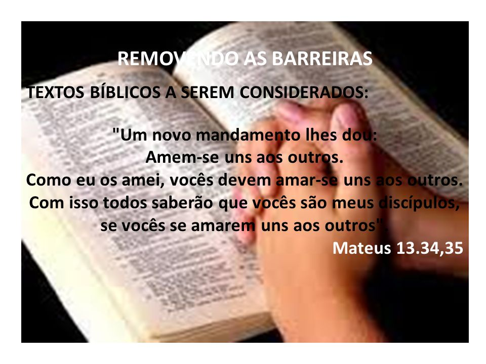 REMOVENDO AS BARREIRAS TEXTOS BÍBLICOS A SEREM CONSIDERADOS: Um novo mandamento lhes dou: Amem-se uns aos outros.