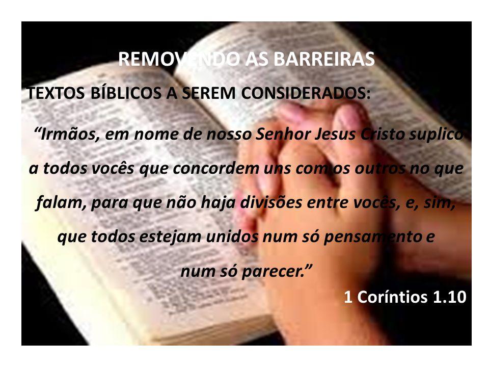 REMOVENDO AS BARREIRAS TEXTOS BÍBLICOS A SEREM CONSIDERADOS: Irmãos, em nome de nosso Senhor Jesus Cristo suplico a todos vocês que concordem uns com