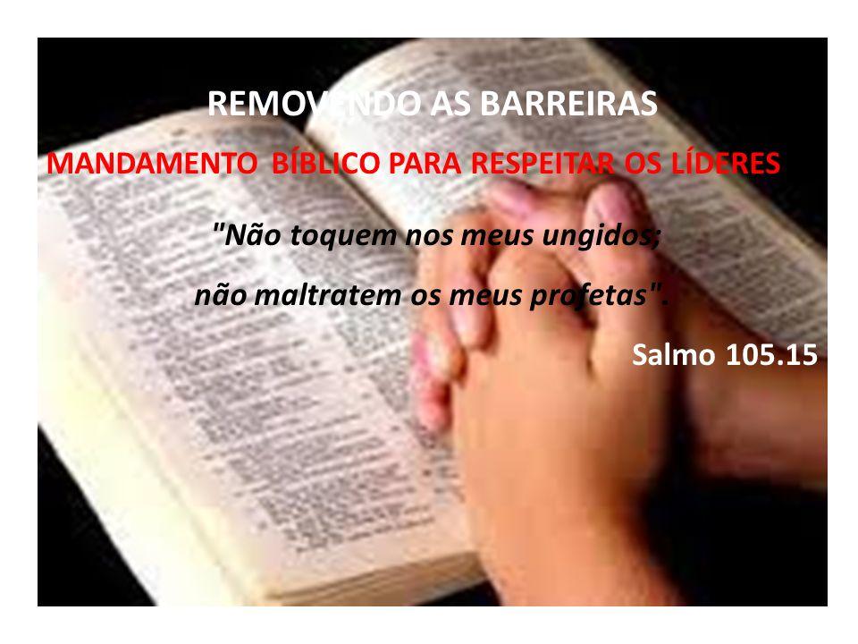 REMOVENDO AS BARREIRAS MANDAMENTO BÍBLICO PARA RESPEITAR OS LÍDERES Não toquem nos meus ungidos; não maltratem os meus profetas .