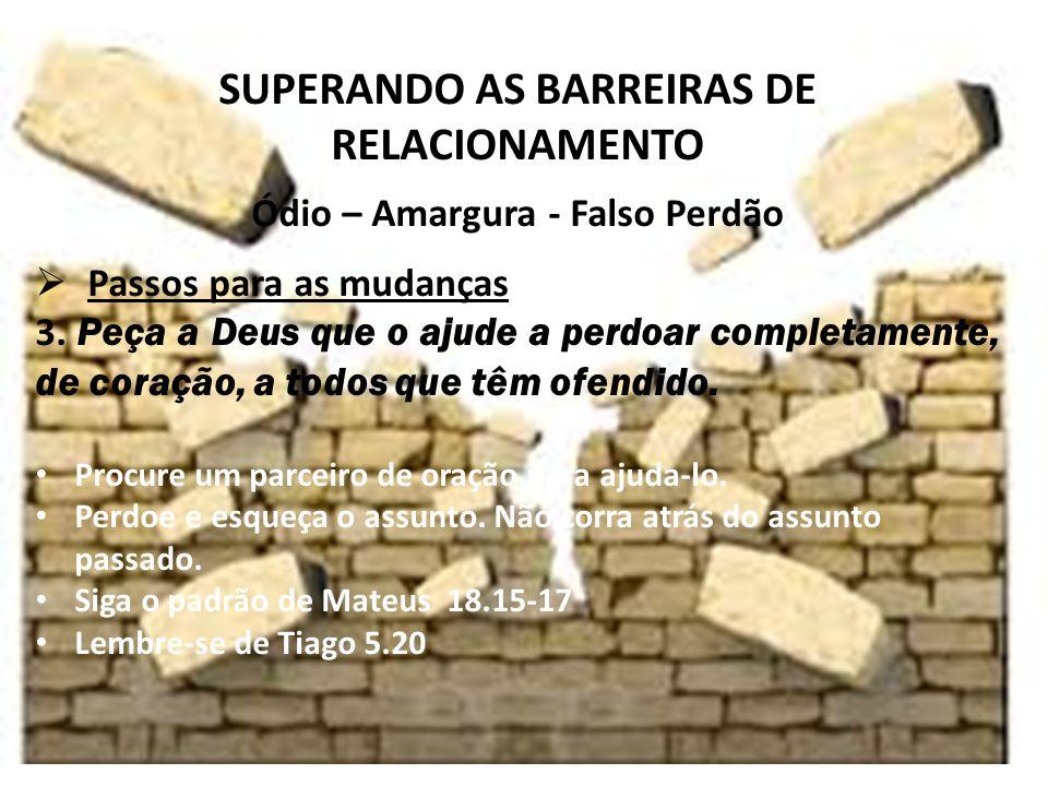 iste SUPERANDO AS BARREIRAS DE RELACIONAMENTO Ódio – Amargura - Falso Perdão Passos para as mudanças 3.