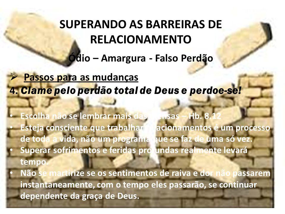 iste SUPERANDO AS BARREIRAS DE RELACIONAMENTO Ódio – Amargura - Falso Perdão Passos para as mudanças 4.