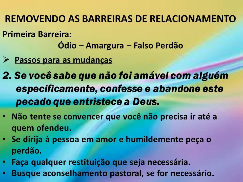 REMOVENDO AS BARREIRAS DE RELACIONAMENTO Primeira Barreira: Ódio – Amargura – Falso Perdão Passos para as mudanças 2.