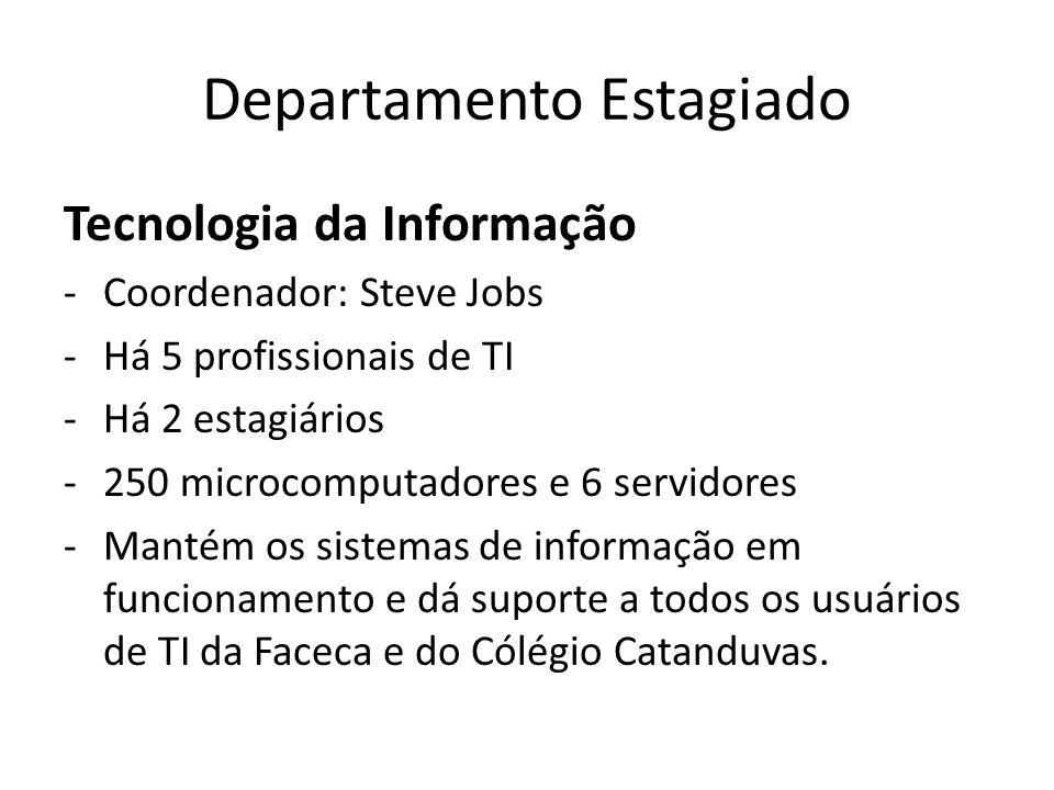 Departamento Estagiado Tecnologia da Informação -Coordenador: Steve Jobs -Há 5 profissionais de TI -Há 2 estagiários -250 microcomputadores e 6 servid