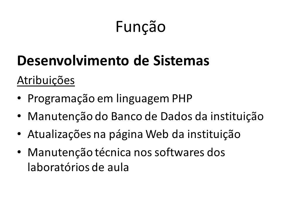 Função Desenvolvimento de Sistemas Atribuições Programação em linguagem PHP Manutenção do Banco de Dados da instituição Atualizações na página Web da