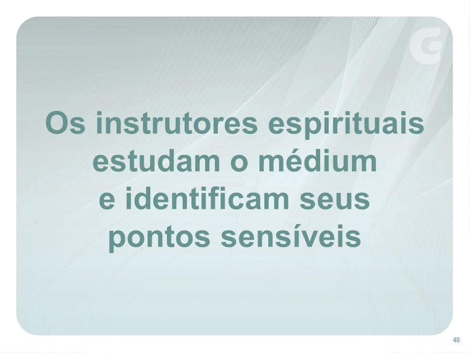 48 Os instrutores espirituais estudam o médium e identificam seus pontos sensíveis