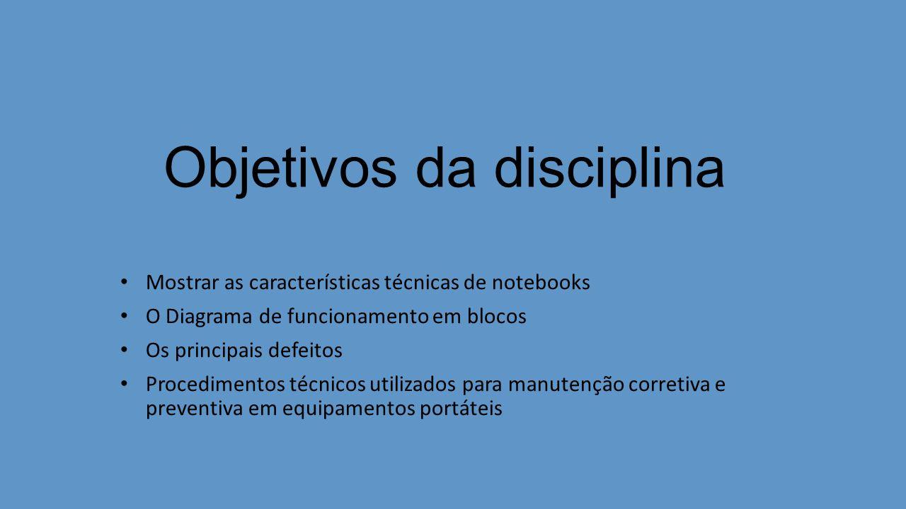 Objetivos da disciplina Mostrar as características técnicas de notebooks O Diagrama de funcionamento em blocos Os principais defeitos Procedimentos técnicos utilizados para manutenção corretiva e preventiva em equipamentos portáteis