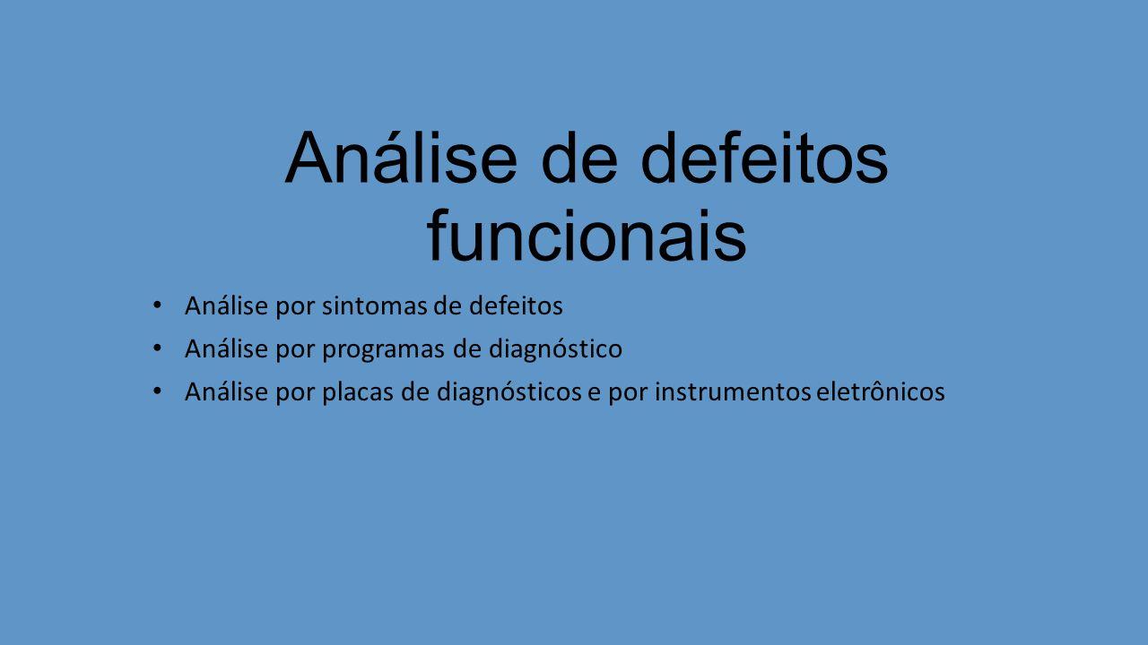 Análise de defeitos funcionais Análise por sintomas de defeitos Análise por programas de diagnóstico Análise por placas de diagnósticos e por instrume