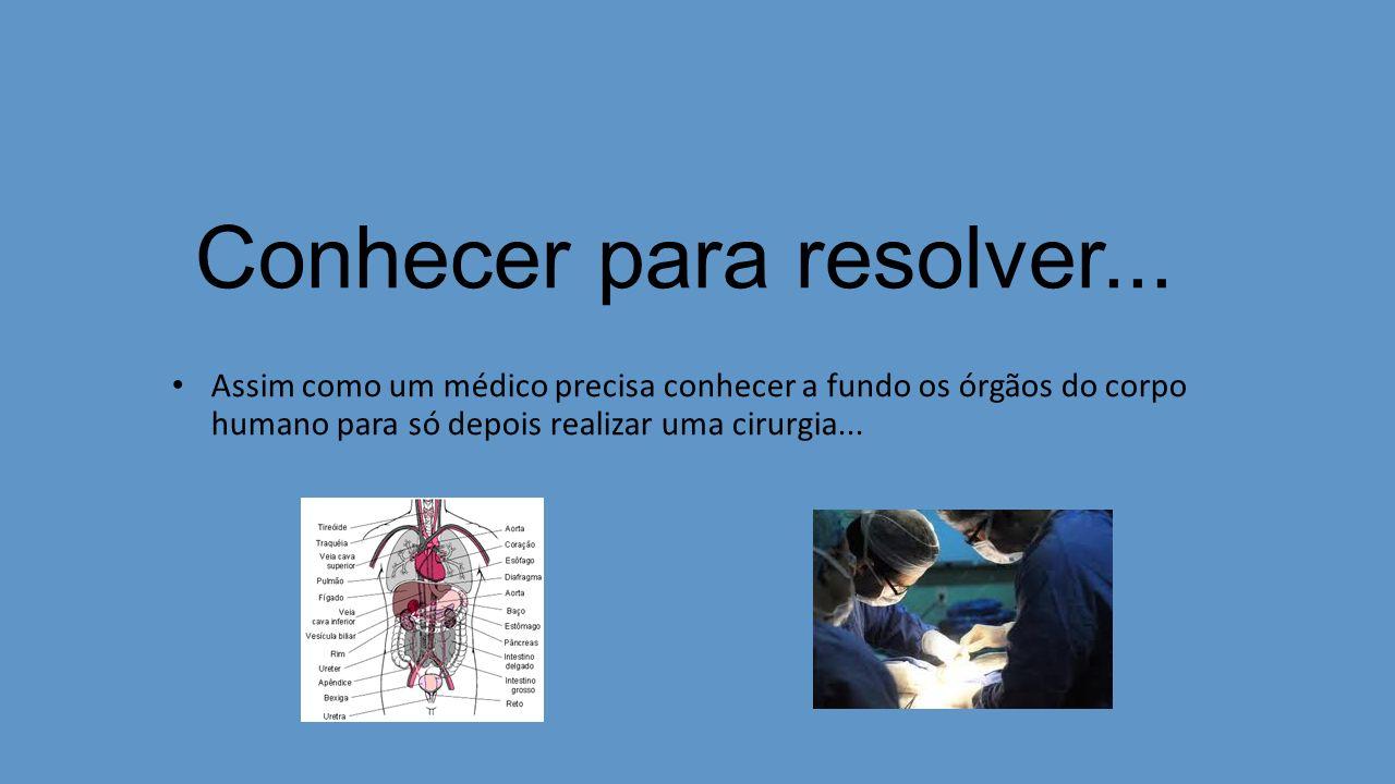 Conhecer para resolver... Assim como um médico precisa conhecer a fundo os órgãos do corpo humano para só depois realizar uma cirurgia...