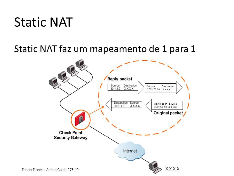 Static NAT Static NAT faz um mapeamento de 1 para 1 Destination Source 200.200.10.1 X.X.X.X Source Destination 200.200.10.1 X.X.X.X Fonte: Firewall Admin Guide R75.40