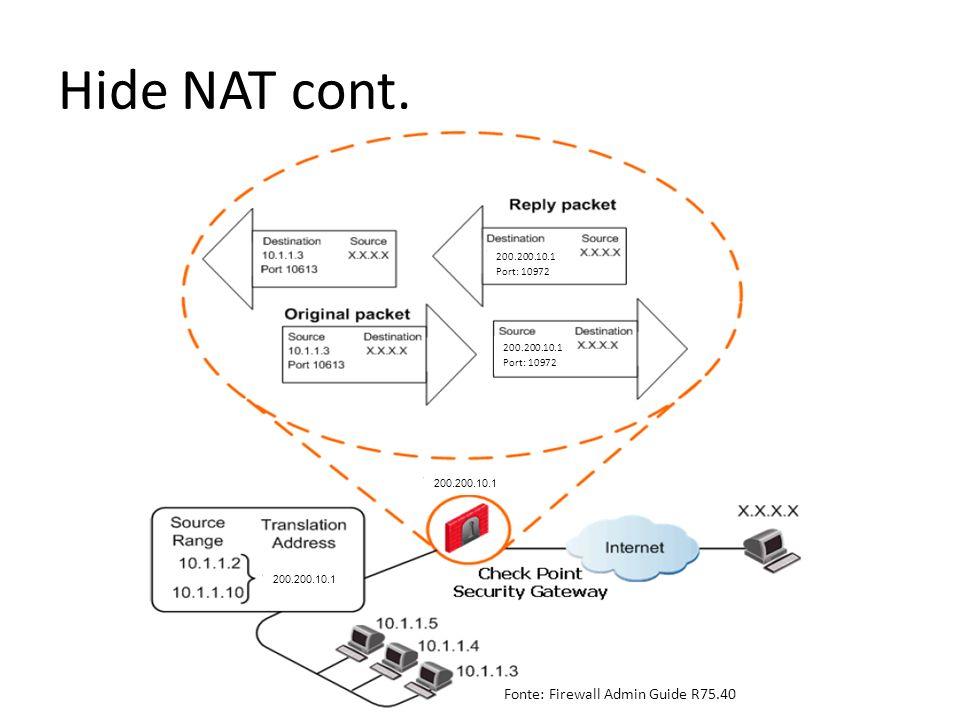 Hide NAT cont. 200.200.10.1 Port: 10972 200.200.10.1 Port: 10972 Fonte: Firewall Admin Guide R75.40