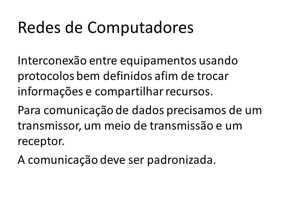 Redes de Computadores Interconexão entre equipamentos usando protocolos bem definidos afim de trocar informações e compartilhar recursos.