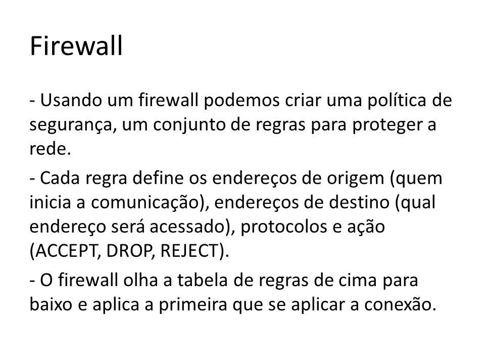 Tipos de firewall 1 – Filtro de pacotes Nesse tipo de firewall devemos definir regras em todas as interfaces de rede do firewall.