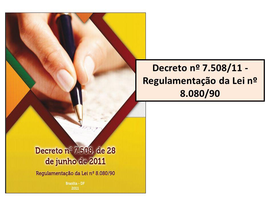 Decreto nº 7.508/11, de 28 de junho de 2011 Regulamenta a Lei nº 8.080, de 19 de setembro de 1990, para dispor sobre a organização do SUS, o planejamento da saúde, a assistência à saúde e a articulação interfederativa e dá outras providências.