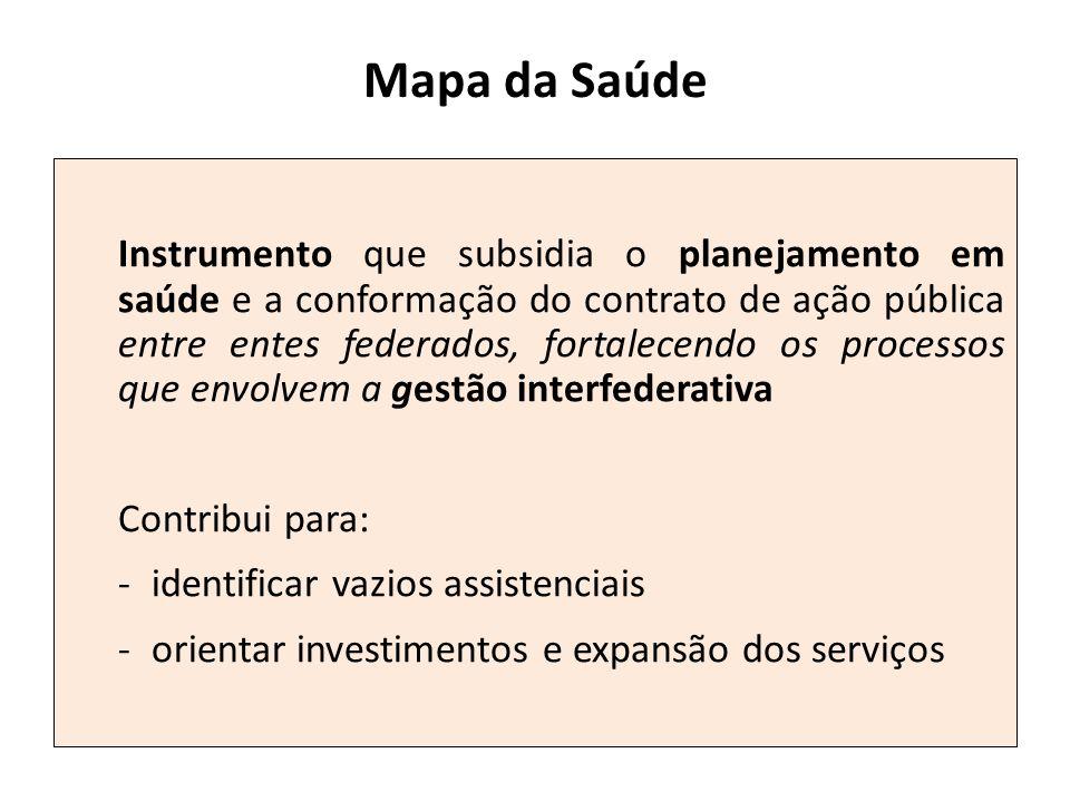 Mapa da Saúde Instrumento que subsidia o planejamento em saúde e a conformação do contrato de ação pública entre entes federados, fortalecendo os proc