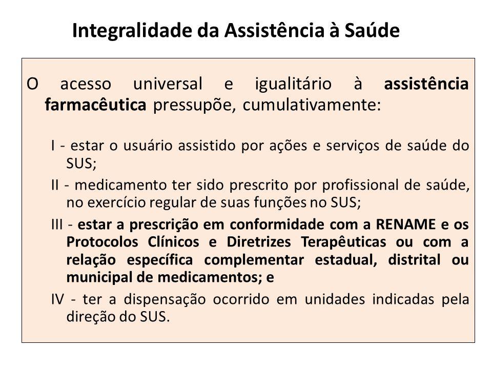 O acesso universal e igualitário à assistência farmacêutica pressupõe, cumulativamente: I - estar o usuário assistido por ações e serviços de saúde do