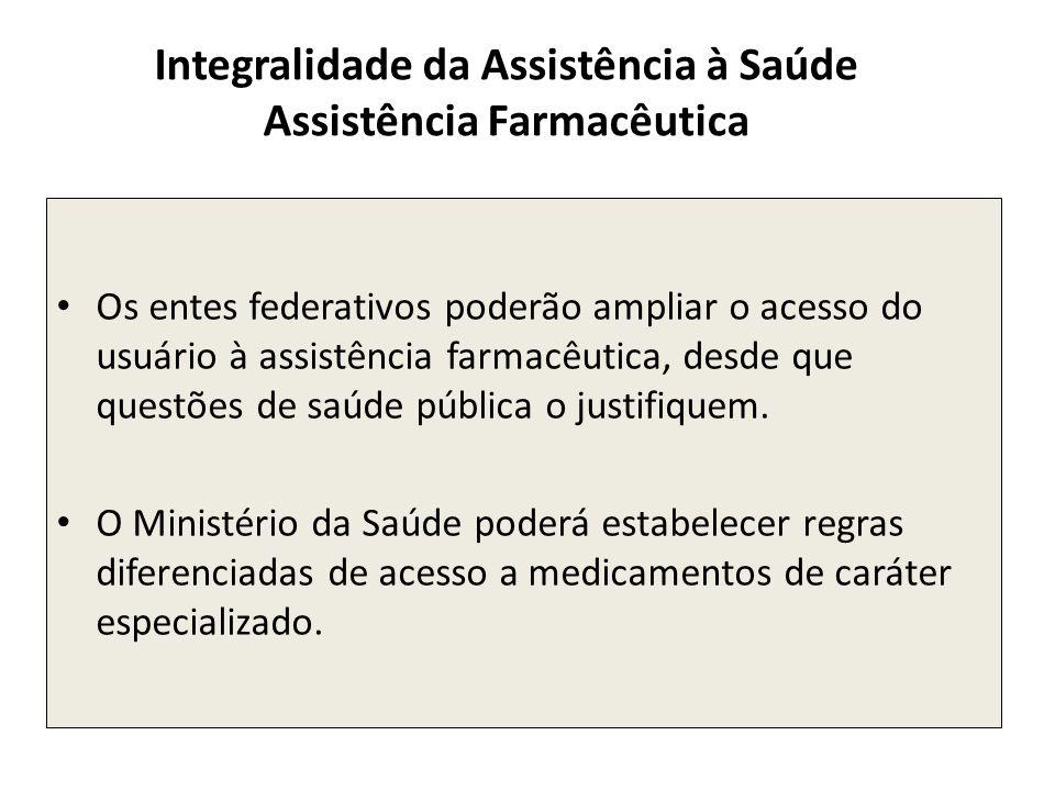 Os entes federativos poderão ampliar o acesso do usuário à assistência farmacêutica, desde que questões de saúde pública o justifiquem. O Ministério d
