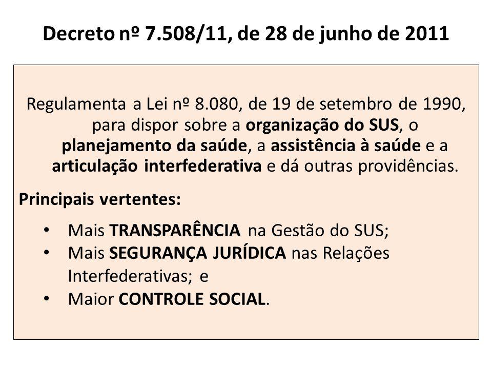 Decreto nº 7.508/11, de 28 de junho de 2011 Regulamenta a Lei nº 8.080, de 19 de setembro de 1990, para dispor sobre a organização do SUS, o planejame