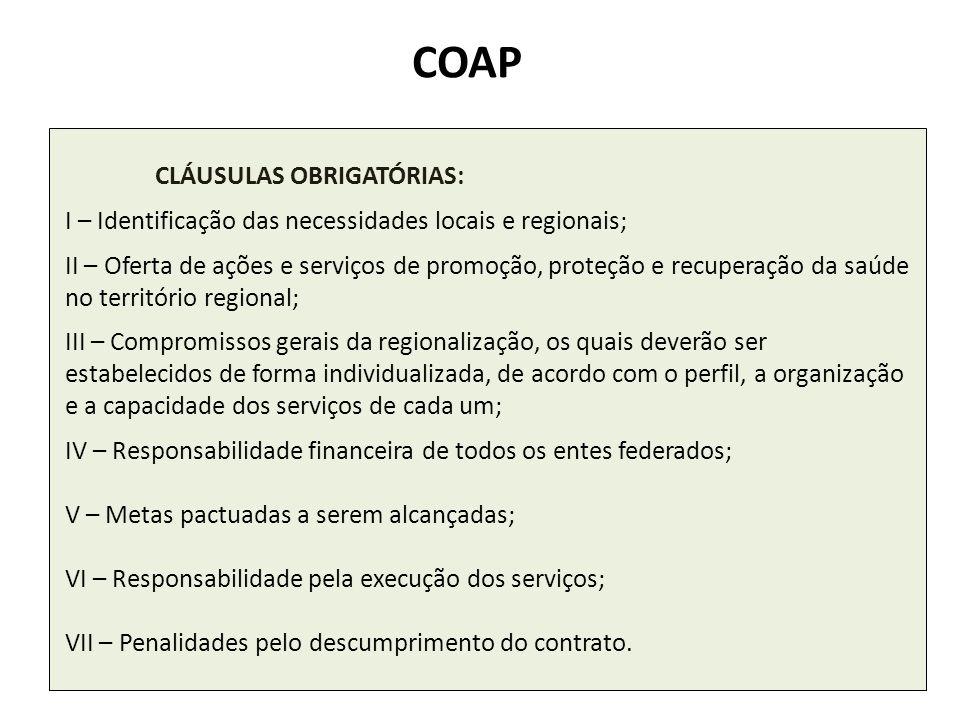 CLÁUSULAS OBRIGATÓRIAS: I – Identificação das necessidades locais e regionais; II – Oferta de ações e serviços de promoção, proteção e recuperação da