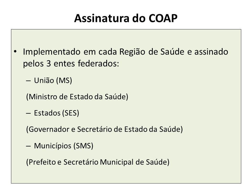 25 Assinatura do COAP Implementado em cada Região de Saúde e assinado pelos 3 entes federados: – União (MS) (Ministro de Estado da Saúde) – Estados (S