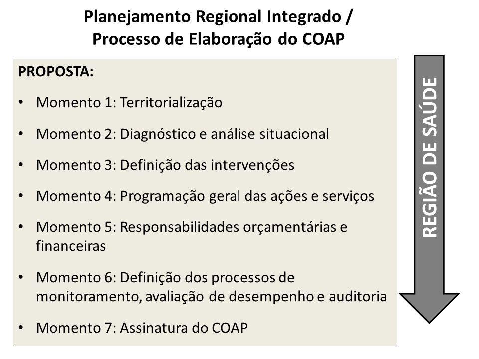 REGIÃO DE SAÚDE PROPOSTA: Momento 1: Territorialização Momento 2: Diagnóstico e análise situacional Momento 3: Definição das intervenções Momento 4: P