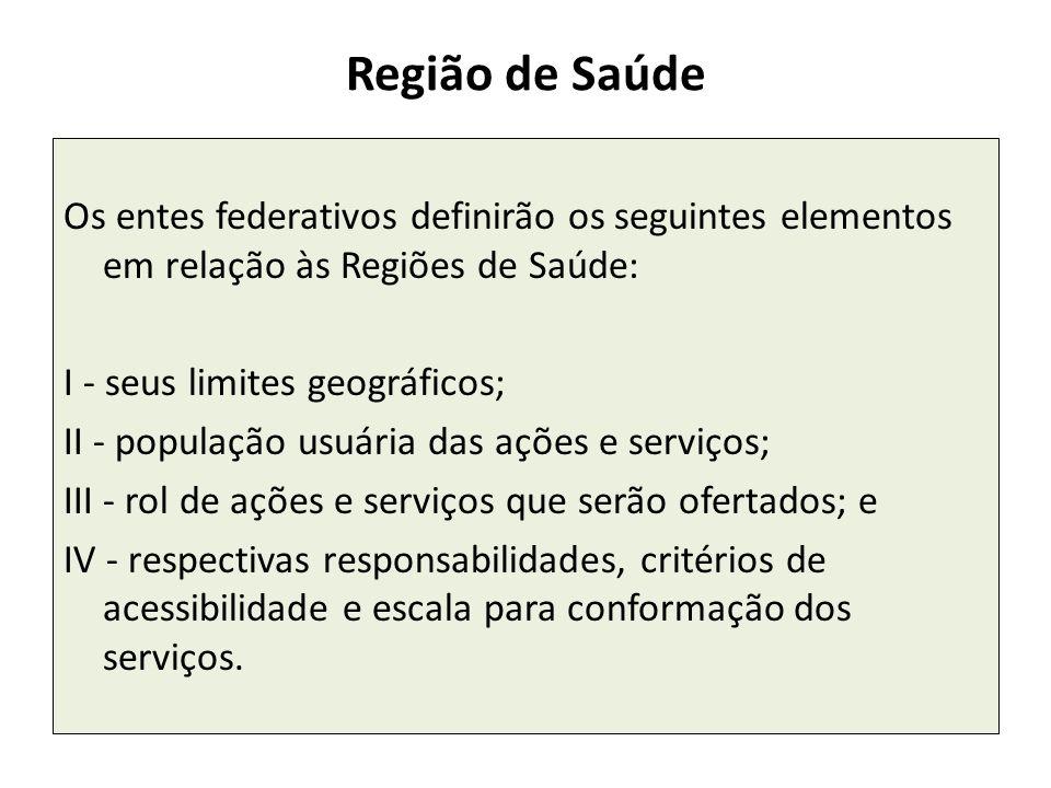 Região de Saúde Os entes federativos definirão os seguintes elementos em relação às Regiões de Saúde: I - seus limites geográficos; II - população usu