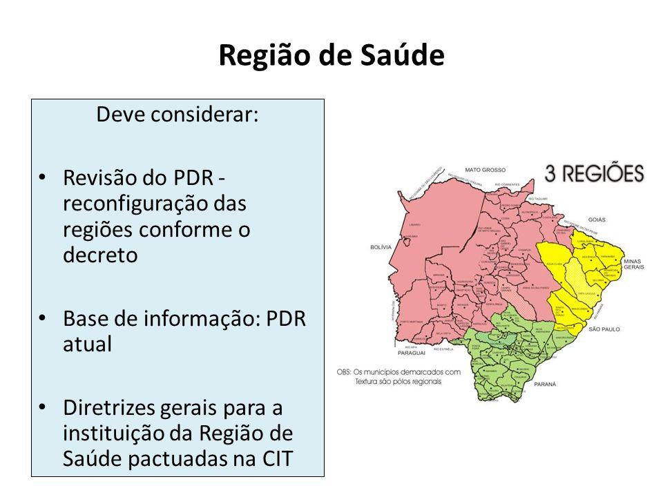 Região de Saúde Deve considerar: Revisão do PDR - reconfiguração das regiões conforme o decreto Base de informação: PDR atual Diretrizes gerais para a