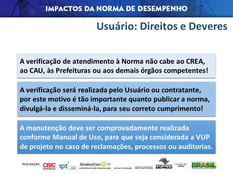 Usuário: Direitos e Deveres A manutenção deve ser comprovadamente realizada conforme Manual de Uso, para que seja considerada a VUP de projeto no caso