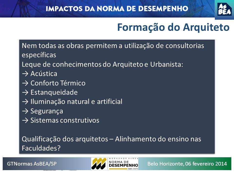 Formação do Arquiteto GTNormas AsBEA/SPBelo Horizonte, 06 fevereiro 2014 Nem todas as obras permitem a utilização de consultorias específicas Leque de