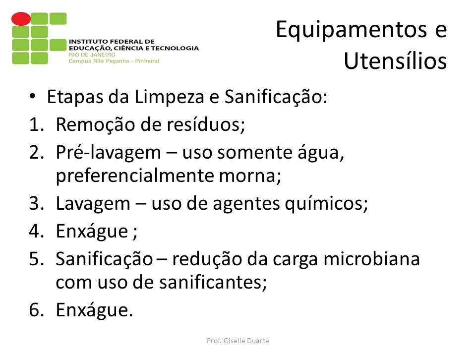 Equipamentos e Utensílios Etapas da Limpeza e Sanificação: 1.Remoção de resíduos; 2.Pré-lavagem – uso somente água, preferencialmente morna; 3.Lavagem