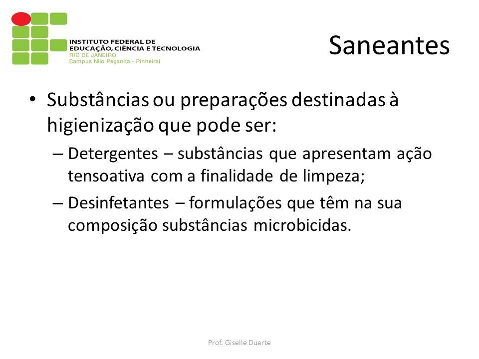 Saneantes Substâncias ou preparações destinadas à higienização que pode ser: – Detergentes – substâncias que apresentam ação tensoativa com a finalida