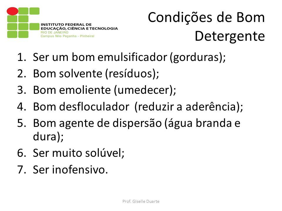 Condições de Bom Detergente 1.Ser um bom emulsificador (gorduras); 2.Bom solvente (resíduos); 3.Bom emoliente (umedecer); 4.Bom desfloculador (reduzir