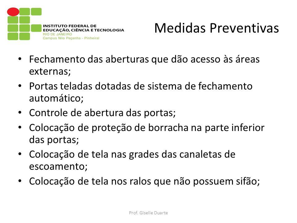 Medidas Preventivas Fechamento das aberturas que dão acesso às áreas externas; Portas teladas dotadas de sistema de fechamento automático; Controle de