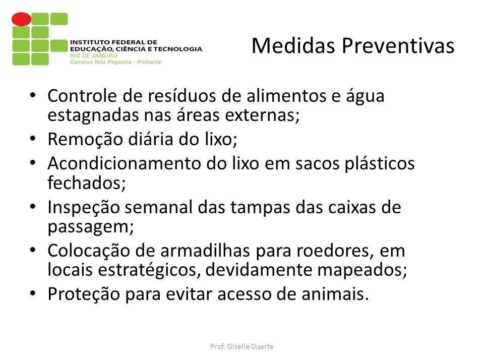 Medidas Preventivas Controle de resíduos de alimentos e água estagnadas nas áreas externas; Remoção diária do lixo; Acondicionamento do lixo em sacos