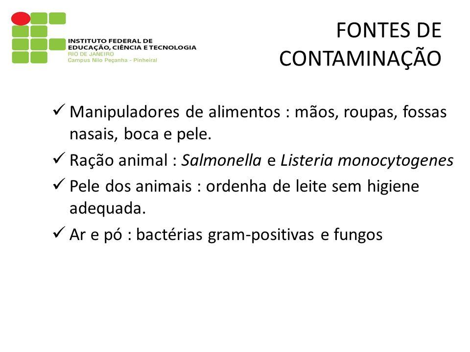 Manipuladores de alimentos : mãos, roupas, fossas nasais, boca e pele. Ração animal : Salmonella e Listeria monocytogenes Pele dos animais : ordenha d