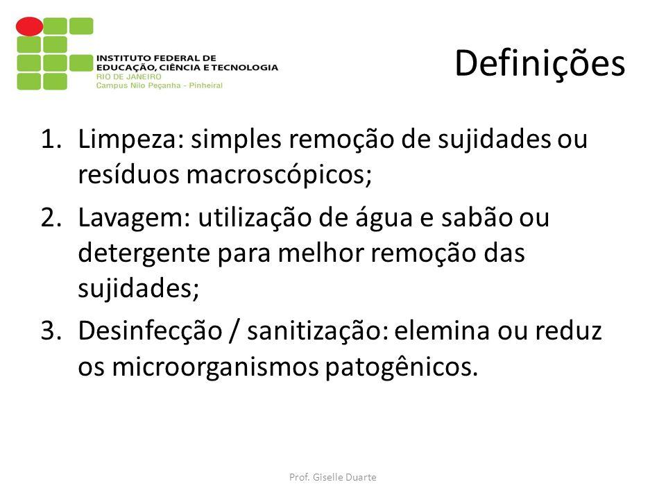 Definições 1.Limpeza: simples remoção de sujidades ou resíduos macroscópicos; 2.Lavagem: utilização de água e sabão ou detergente para melhor remoção das sujidades; 3.Desinfecção / sanitização: elemina ou reduz os microorganismos patogênicos.