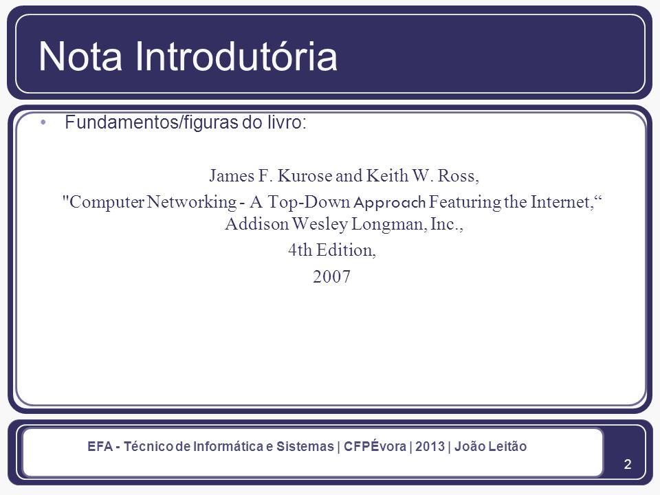 3 EFA - Técnico de Informática e Sistemas | CFPÉvora | 2013 | João Leitão Conexões de Rede 1.