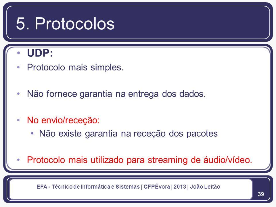 40 EFA - Técnico de Informática e Sistemas | CFPÉvora | 2013 | João Leitão 5.