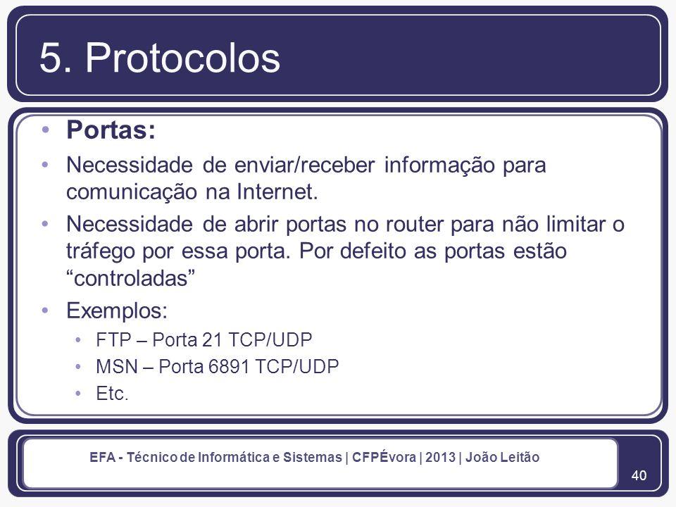 41 EFA - Técnico de Informática e Sistemas | CFPÉvora | 2013 | João Leitão Rede Local 6.