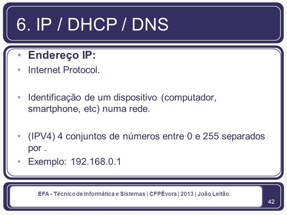 43 EFA - Técnico de Informática e Sistemas | CFPÉvora | 2013 | João Leitão 6.