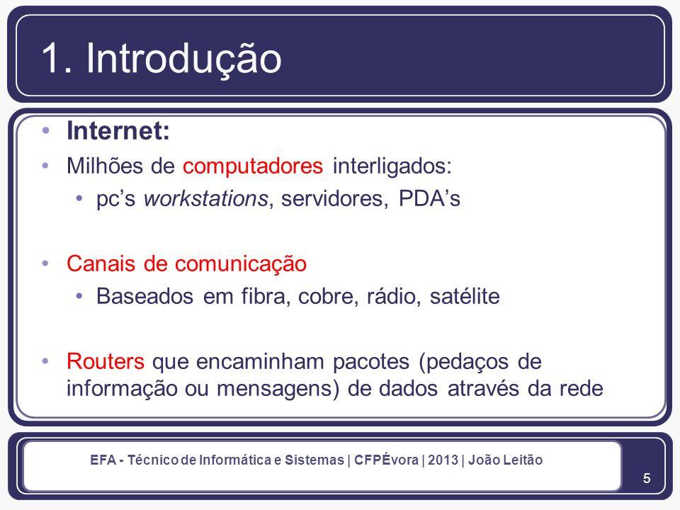 6 EFA - Técnico de Informática e Sistemas | CFPÉvora | 2013 | João Leitão 1.