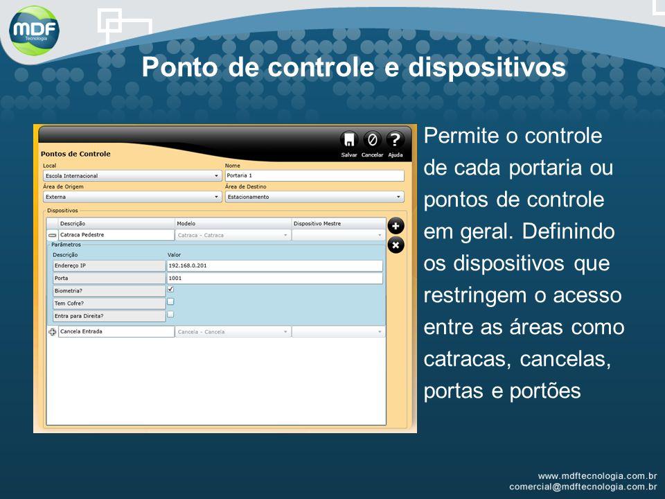 Ponto de controle e dispositivos Permite o controle de cada portaria ou pontos de controle em geral.