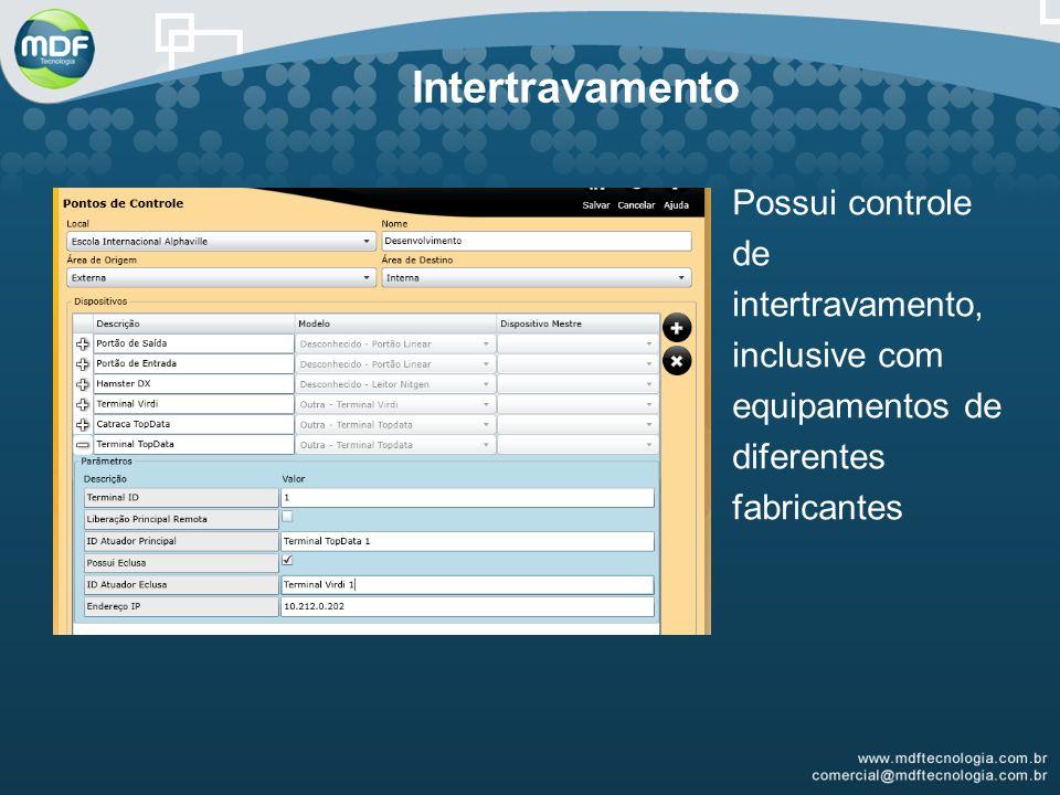 Intertravamento Possui controle de intertravamento, inclusive com equipamentos de diferentes fabricantes