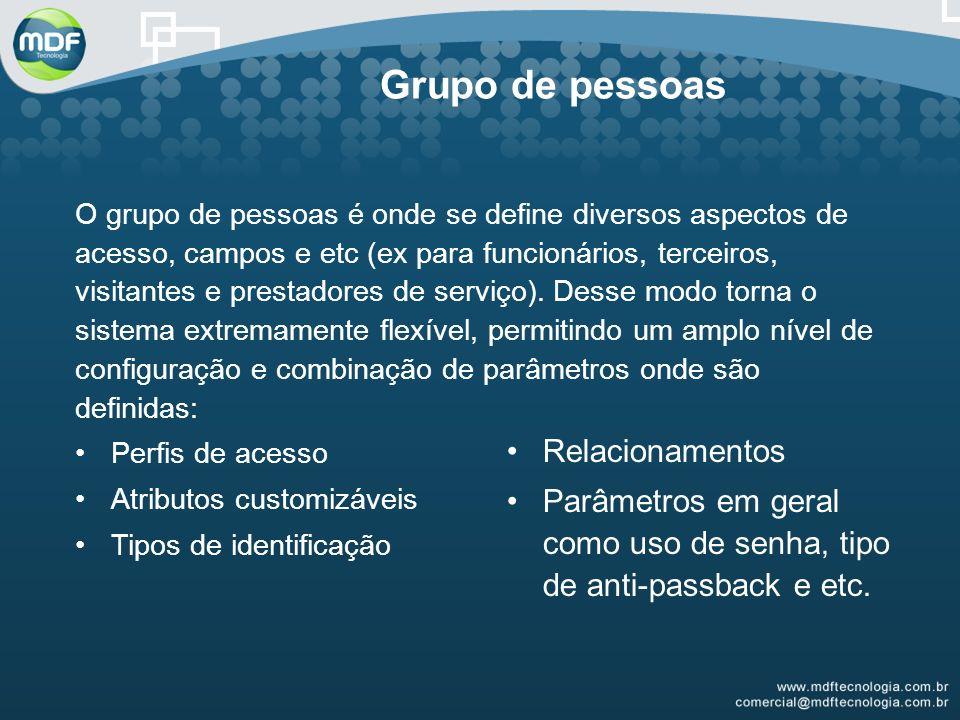 O grupo de pessoas é onde se define diversos aspectos de acesso, campos e etc (ex para funcionários, terceiros, visitantes e prestadores de serviço).