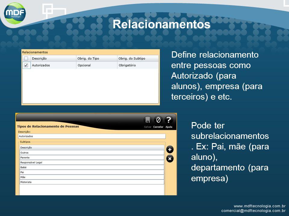 Relacionamentos Define relacionamento entre pessoas como Autorizado (para alunos), empresa (para terceiros) e etc.