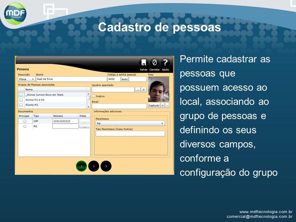 Cadastro de pessoas Permite cadastrar as pessoas que possuem acesso ao local, associando ao grupo de pessoas e definindo os seus diversos campos, conforme a configuração do grupo