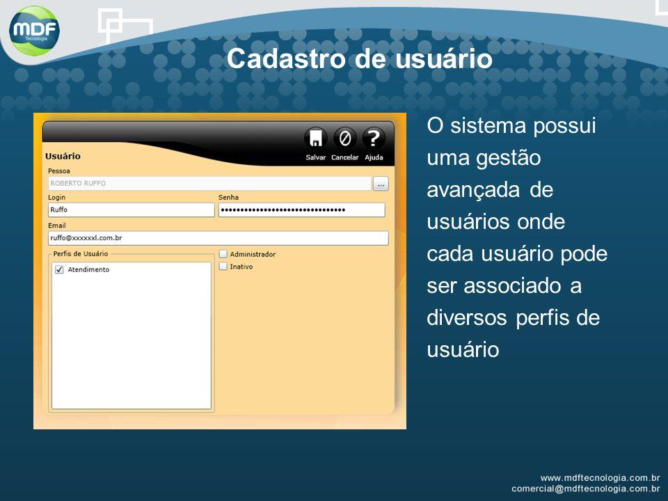 Cadastro de usuário O sistema possui uma gestão avançada de usuários onde cada usuário pode ser associado a diversos perfis de usuário