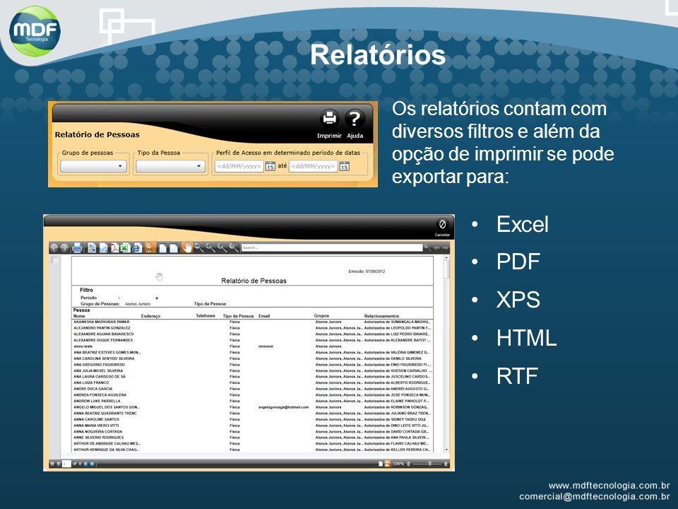 Relatórios Os relatórios contam com diversos filtros e além da opção de imprimir se pode exportar para: Excel PDF XPS HTML RTF