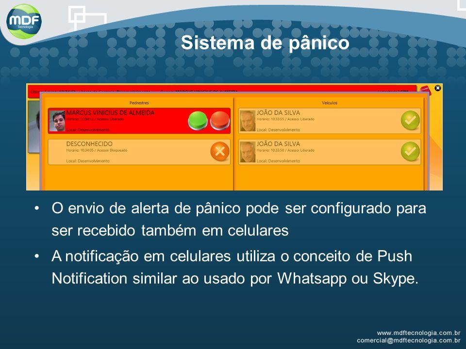 Sistema de pânico O envio de alerta de pânico pode ser configurado para ser recebido também em celulares A notificação em celulares utiliza o conceito de Push Notification similar ao usado por Whatsapp ou Skype.