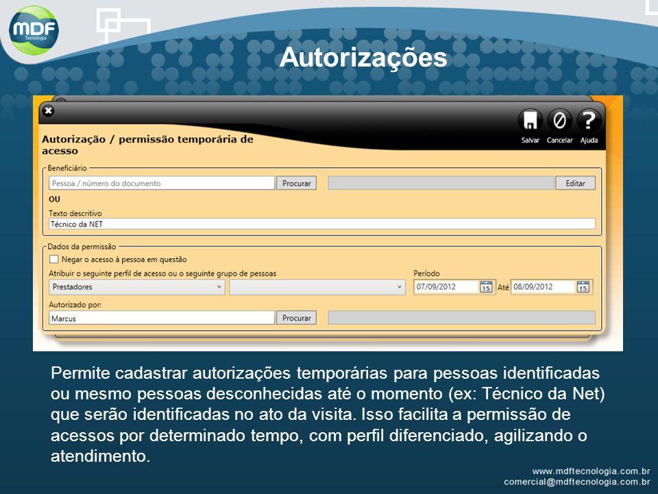 Autorizações Permite cadastrar autorizações temporárias para pessoas identificadas ou mesmo pessoas desconhecidas até o momento (ex: Técnico da Net) que serão identificadas no ato da visita.