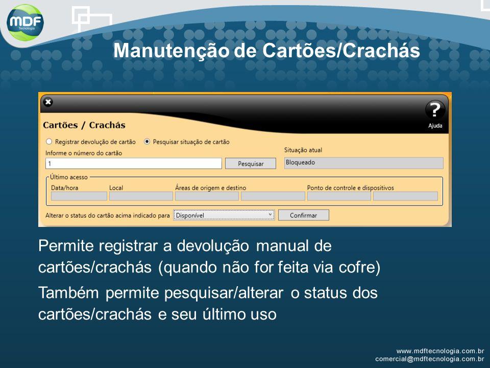 Permite registrar a devolução manual de cartões/crachás (quando não for feita via cofre) Também permite pesquisar/alterar o status dos cartões/crachás e seu último uso Manutenção de Cartões/Crachás